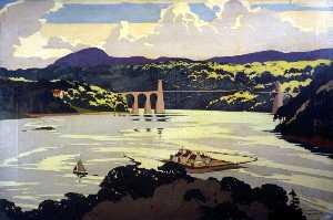 Menai Suspension Bridge (London, Midland and Scottish Railway poster artwork)