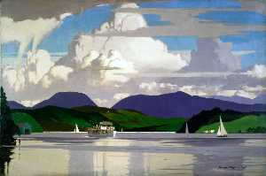 MV 'Swan' on Lake Windermere (London, Midland and Scottish Railway poster artwork)