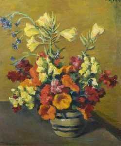 Still Life, Flowers Arranged in a Blue Striped Vase
