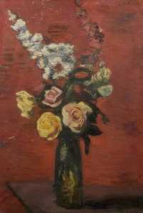 Flowers Including Roses in a Tall Vase