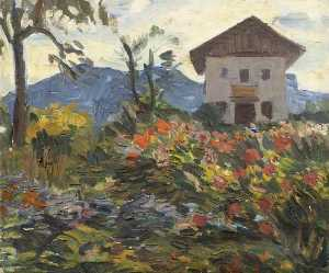 A Mass of Flowers with a House and a Mountain Beyond