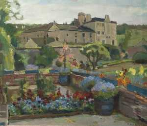 Flower Garden with a Large House beyond