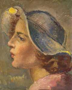 Head and Shoulders Portrait in Profile of of a Young Woman in a Broad Brimmed Hat