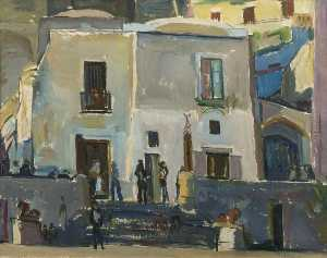 Figures on Steps in front of a House