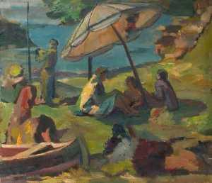 Beach Scene with a Sunshade