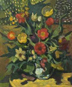 Still Life, Yellow and Red Flowers Arranged in a Vase