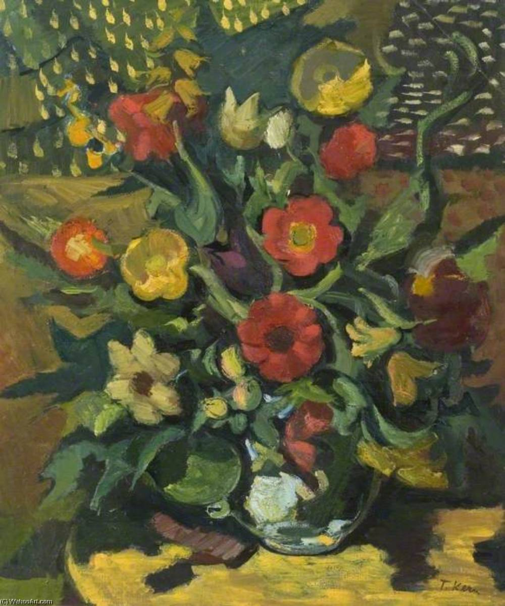 Wikioo.org - The Encyclopedia of Fine Arts - Painting, Artwork by Theodor Kern - Still Life, Yellow and Red Flowers Arranged in a Vase