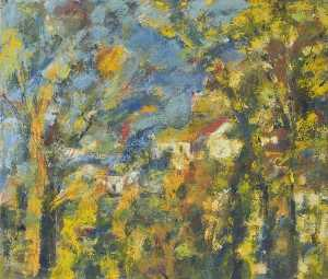 Hillside and Houses Framed by Trees, an Impressionist Study