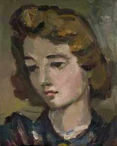 Head and Shoulders Portrait of a Woman in a Blue and Purple Dress