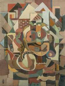 Girl and Fruit, a Cubist Study
