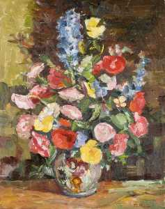 Flowers in a Vase with a Brown Background