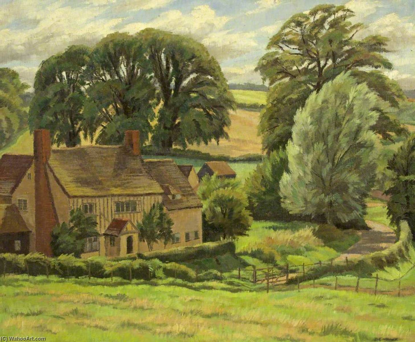 Wikioo.org - The Encyclopedia of Fine Arts - Painting, Artwork by Donald Ewart Milner - A Suffolk Farm
