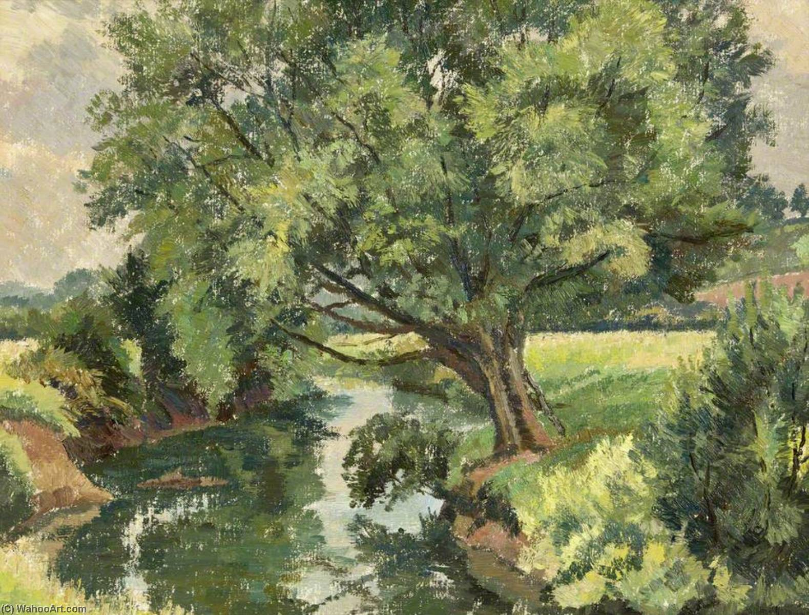 Wikioo.org - The Encyclopedia of Fine Arts - Painting, Artwork by Donald Ewart Milner - A Willow on the River Lugg