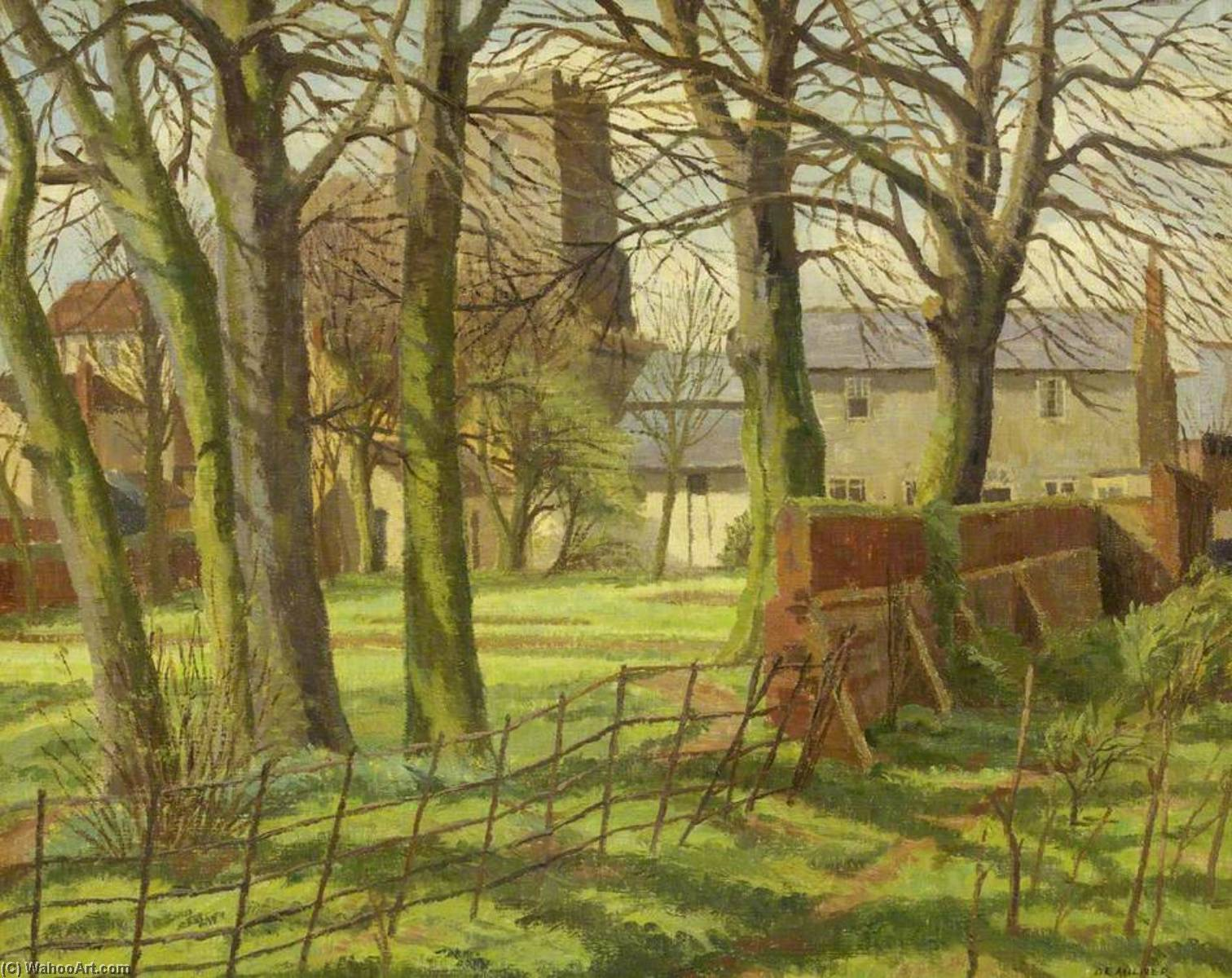 Wikioo.org - The Encyclopedia of Fine Arts - Painting, Artwork by Donald Ewart Milner - A Suffolk Garden