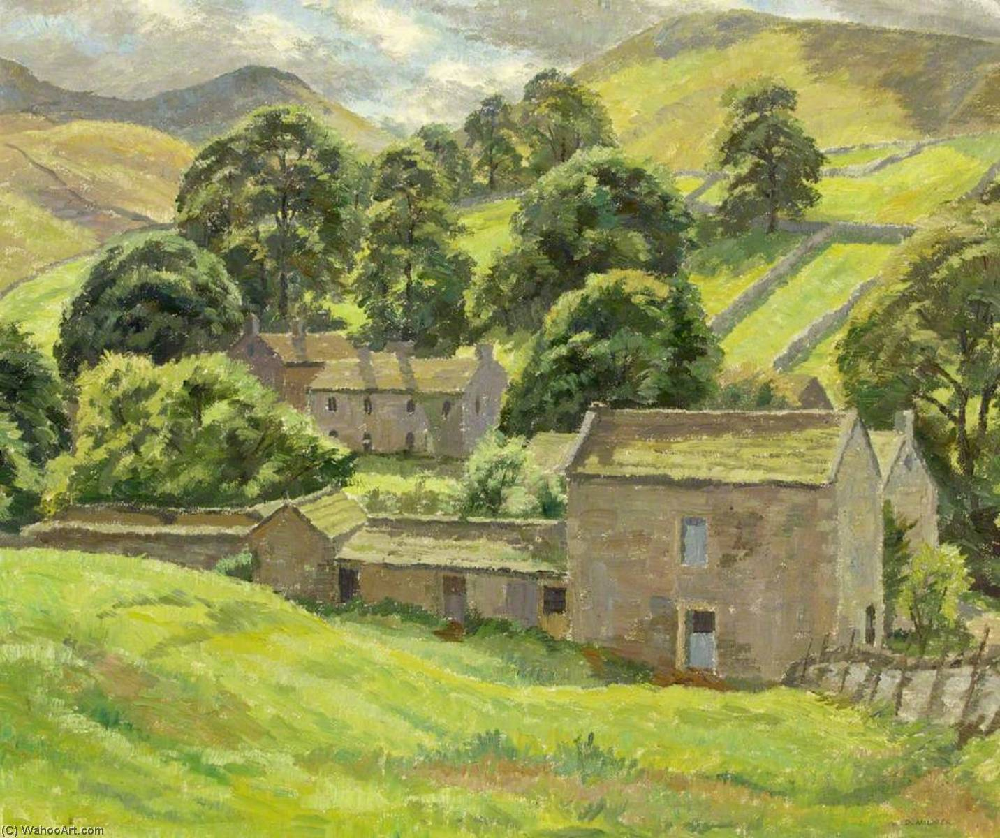 Wikioo.org - The Encyclopedia of Fine Arts - Painting, Artwork by Donald Ewart Milner - After Rain, Thorpe in Craven