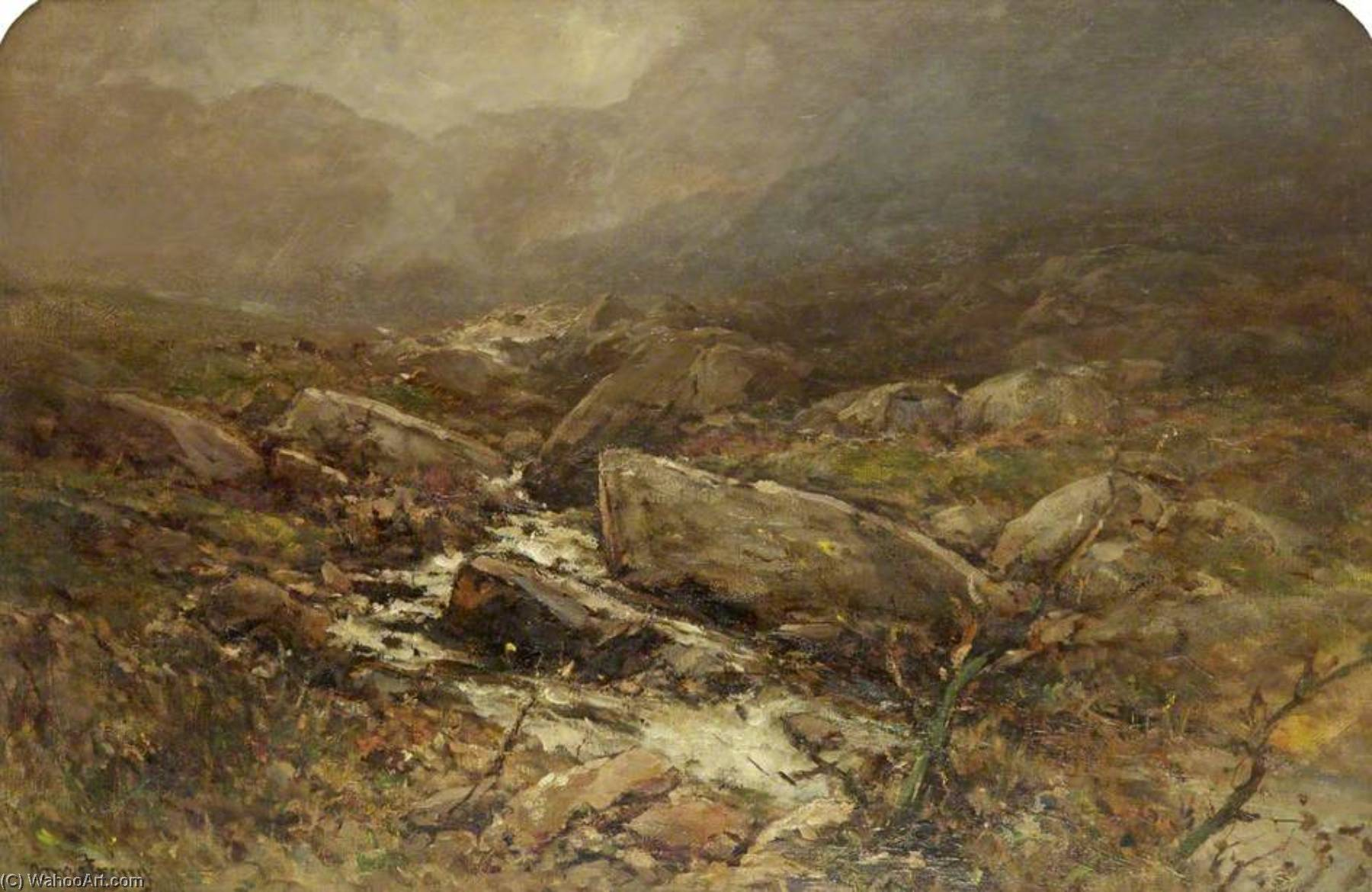 Wikioo.org - The Encyclopedia of Fine Arts - Painting, Artwork by Francis Abel William Taylor Armstrong - A Mountainous Landscape with Trees and Stream