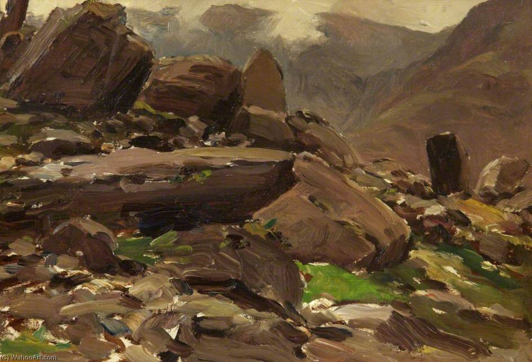 Wikioo.org - The Encyclopedia of Fine Arts - Painting, Artwork by Francis Abel William Taylor Armstrong - A Mountainous Lake Scene with Rocks in the Foreground
