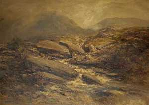 A River Scene with Rocks in the Foreground and Hills Beyond