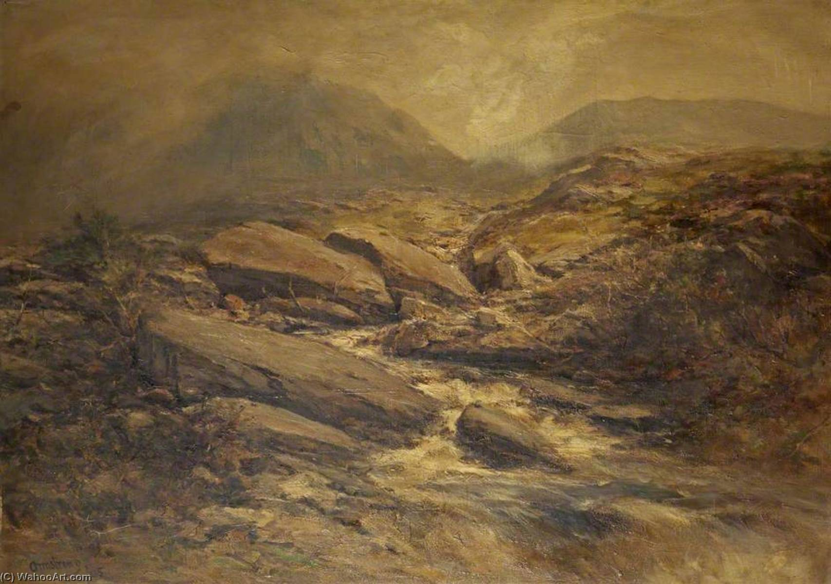 Wikioo.org - The Encyclopedia of Fine Arts - Painting, Artwork by Francis Abel William Taylor Armstrong - A River Scene with Rocks in the Foreground and Hills Beyond