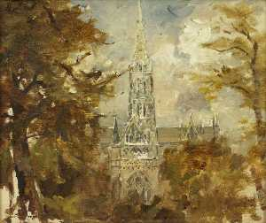 A Cathedral Seen between Trees (possibly Salisbury)
