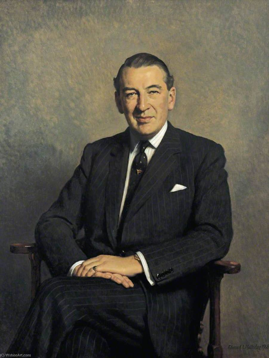 Wikioo.org - The Encyclopedia of Fine Arts - Painting, Artwork by Edward Irvine Halliday - George Rowley Stanley Baring (1918–1991), Earl of Cromer, MBE, Governor of the Bank of England