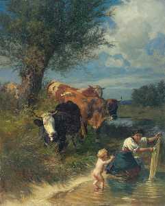 KÜHE UND WÄSCHERIN AM BACH COWS AND WASHERWOMAN NEAR A BROOK