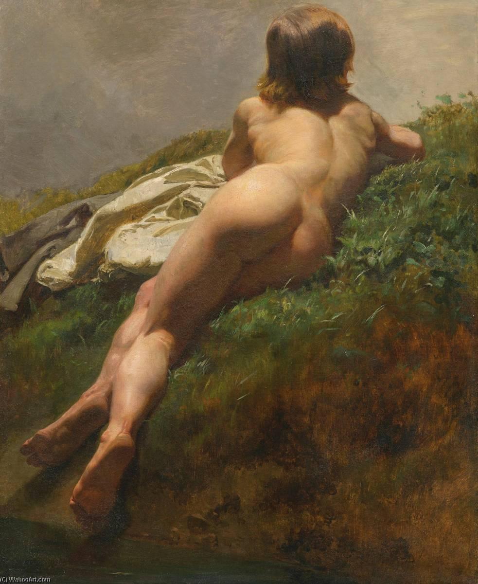 Wikioo.org - The Encyclopedia of Fine Arts - Painting, Artwork by Rudolf Koller - Jünglingsakt im Freien