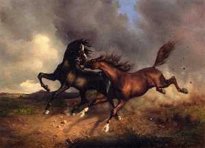 Horses during a Thunderstorm