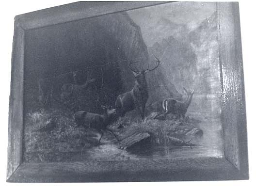 Wikioo.org - The Encyclopedia of Fine Arts - Painting, Artwork by Frank Harold Hayward - (Mountain Landscape with Elk or Deer), (painting)