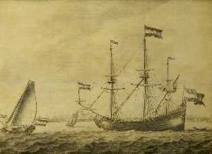 A Dutch Flute and Other Vessels off Rotterdam