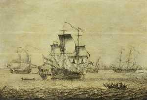 A Dutch Frigate off Rotterdam
