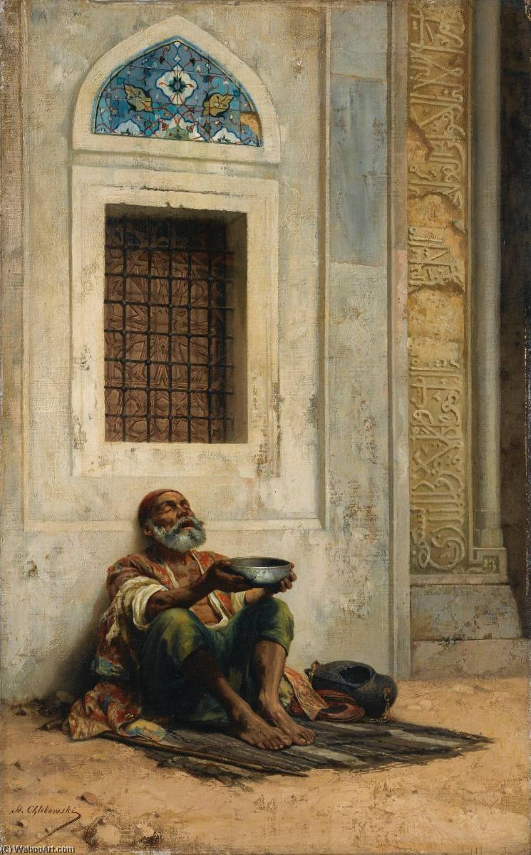 Wikioo.org - The Encyclopedia of Fine Arts - Painting, Artwork by Stanislaus Von Chlebowski - Mendicant at the Mosque door