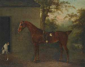 Portrait of Mr. Yarburgh's chestnut hunter Little John with a terrier beside a stable