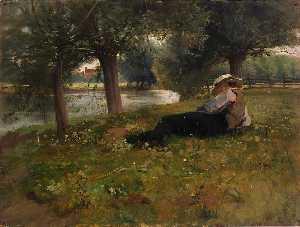 Man Reclining beside a Stream