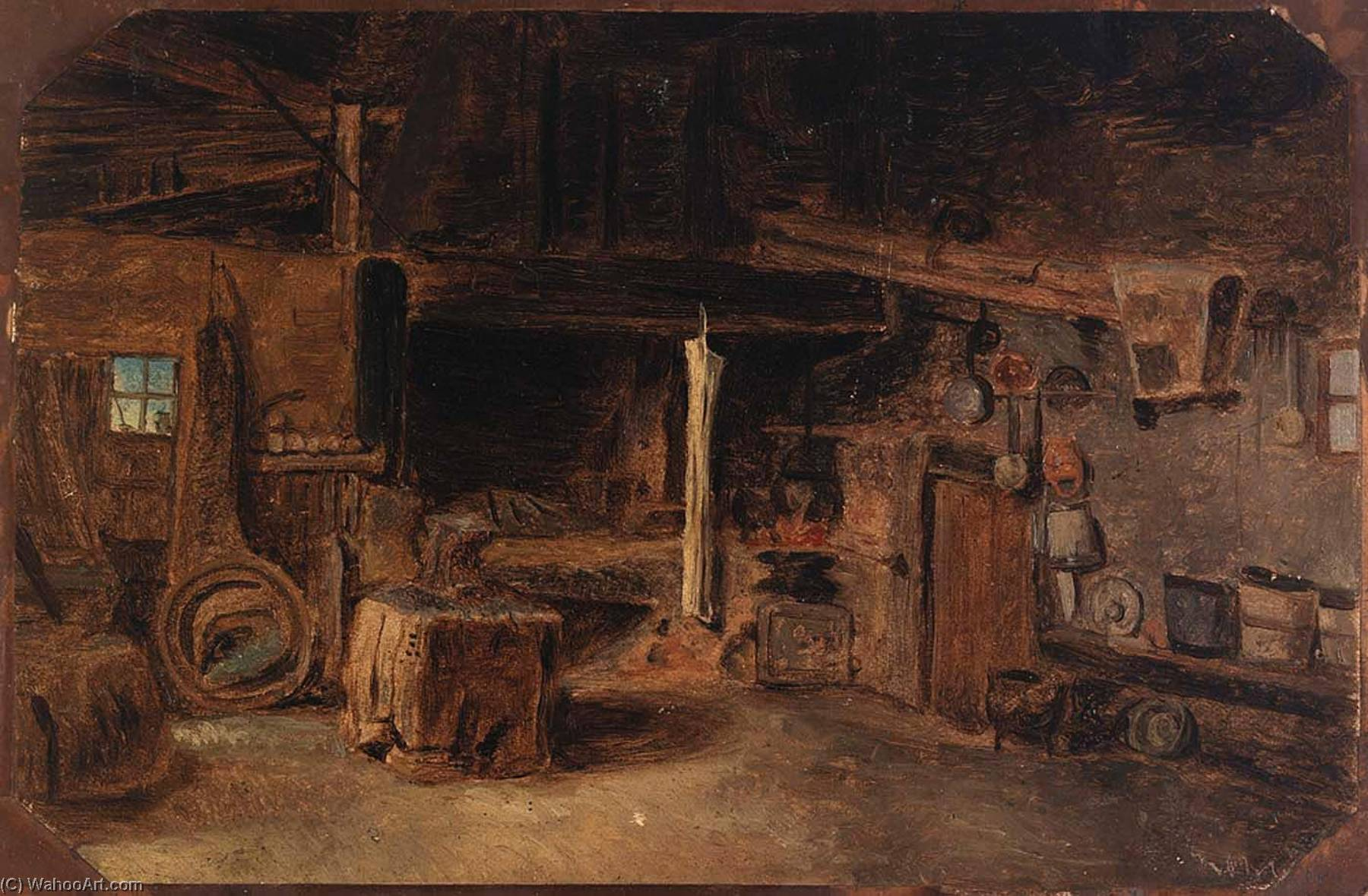 Wikioo.org - The Encyclopedia of Fine Arts - Painting, Artwork by Eliphalet Fraser Andrews - Interior of a Smithy