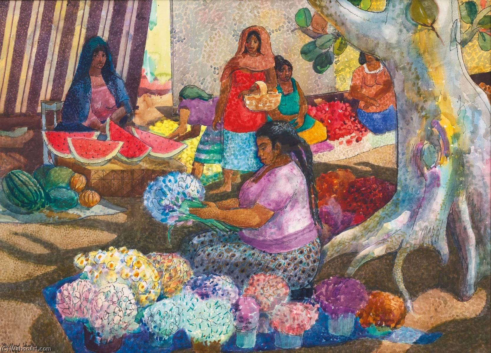 Wikioo.org - The Encyclopedia of Fine Arts - Painting, Artwork by Millard Sheets - Oaxaca Market