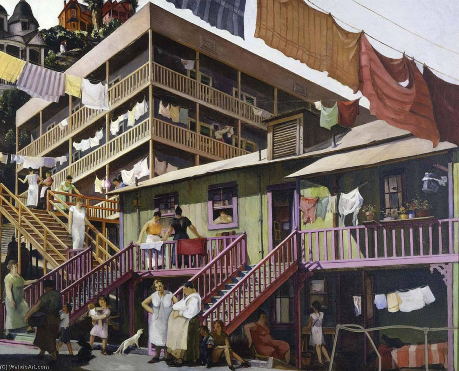 Wikioo.org - The Encyclopedia of Fine Arts - Painting, Artwork by Millard Sheets - Tenement Flats