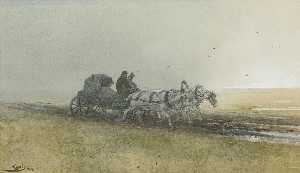 Travelers Driving a Troika After the Rain