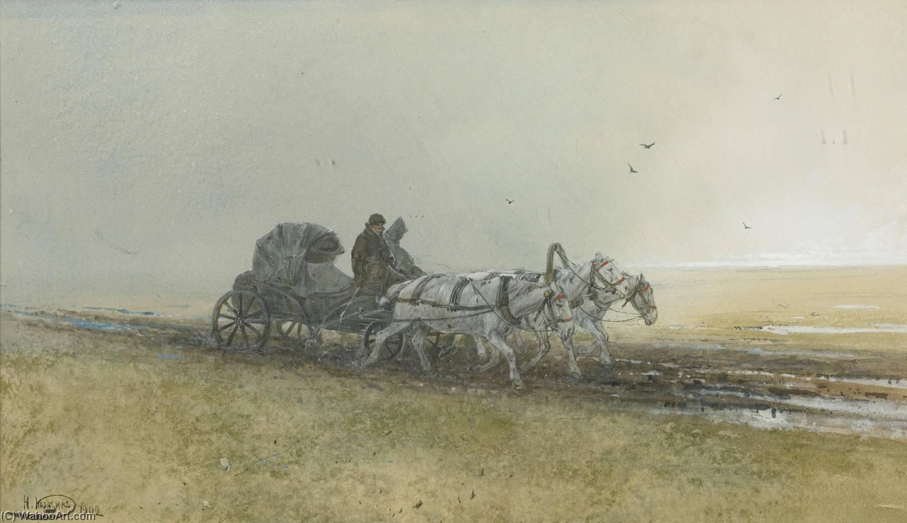 Wikioo.org - The Encyclopedia of Fine Arts - Painting, Artwork by Nikolai Nikolaevich Karazin - Travelers Driving a Troika After the Rain