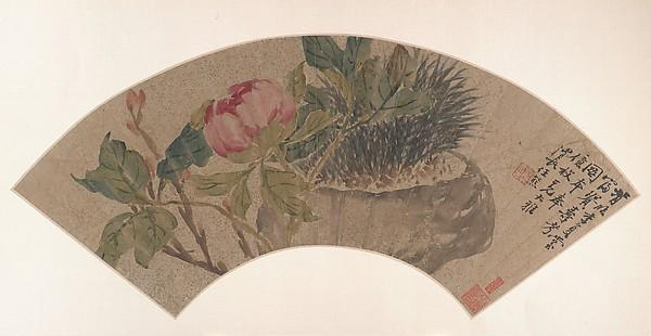 Wikioo.org - The Encyclopedia of Fine Arts - Painting, Artwork by Ren Xiong - 清 任熊 牡丹 扇面 Peony