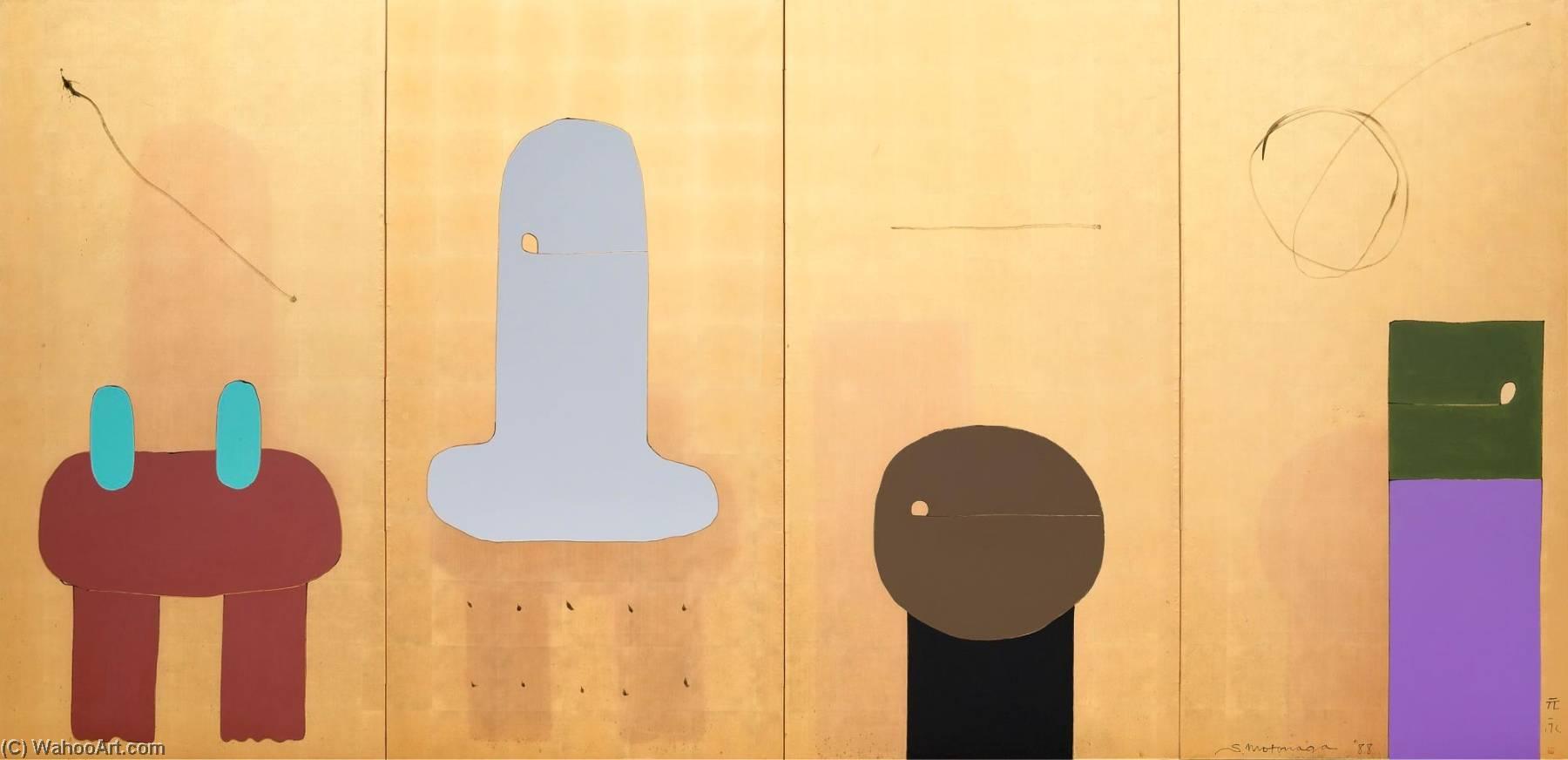 Wikioo.org - The Encyclopedia of Fine Arts - Painting, Artwork by Sadamasa Motonaga - Untitled (quadriptych folding screen)
