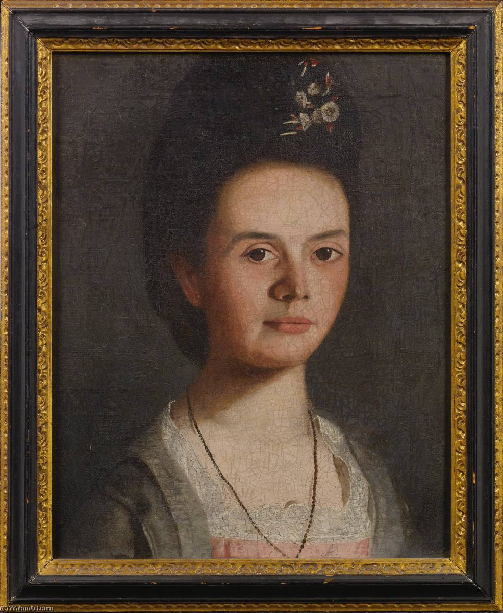 Wikioo.org - The Encyclopedia of Fine Arts - Painting, Artwork by Samuel King - Portrait of a Young Lady with Spray of Flowers in her Hair Mary King Mason