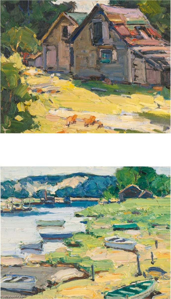 Wikioo.org - The Encyclopedia of Fine Arts - Painting, Artwork by Walter Farndon - Summer by the Sea A Pair of Paintings