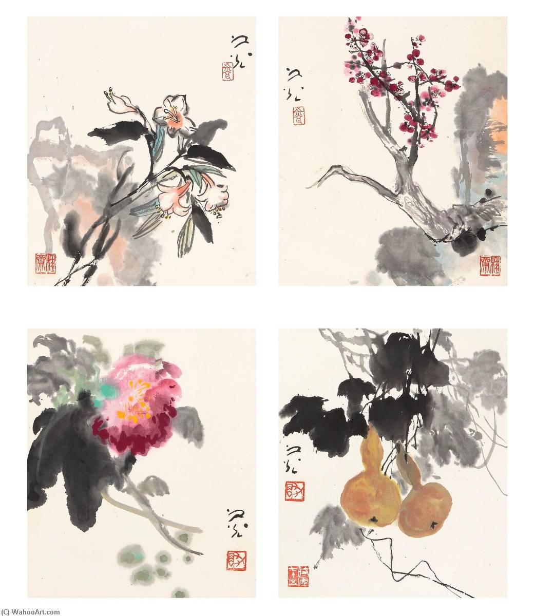 Wikioo.org - The Encyclopedia of Fine Arts - Painting, Artwork by Xie Zhiguang - FLOWERS