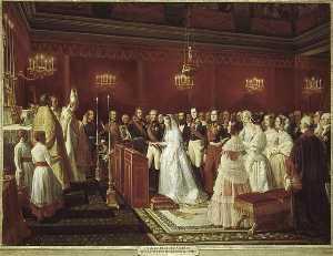 MARIAGE DU DUC DE NEMOURS ET DE LA PRINCESSE DE SAXE COBOURG GOTHA, DANS LA CHAPELLE DU CHATEAU DE SAINT CLOUD.27 AVRIL 1840
