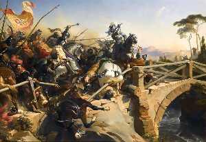 BAYARD DEFEND LE PONT DU CARIGLIANO.1505