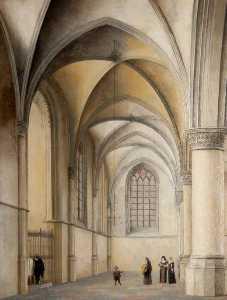 Interior of St Bavo's, Haarlem, with a Catholic Baptism