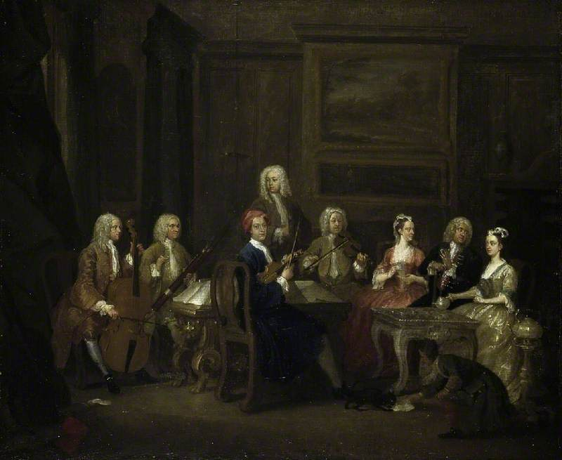 Wikioo.org - The Encyclopedia of Fine Arts - Painting, Artwork by Gawen Hamilton - A Musical Party, the Mathias Family