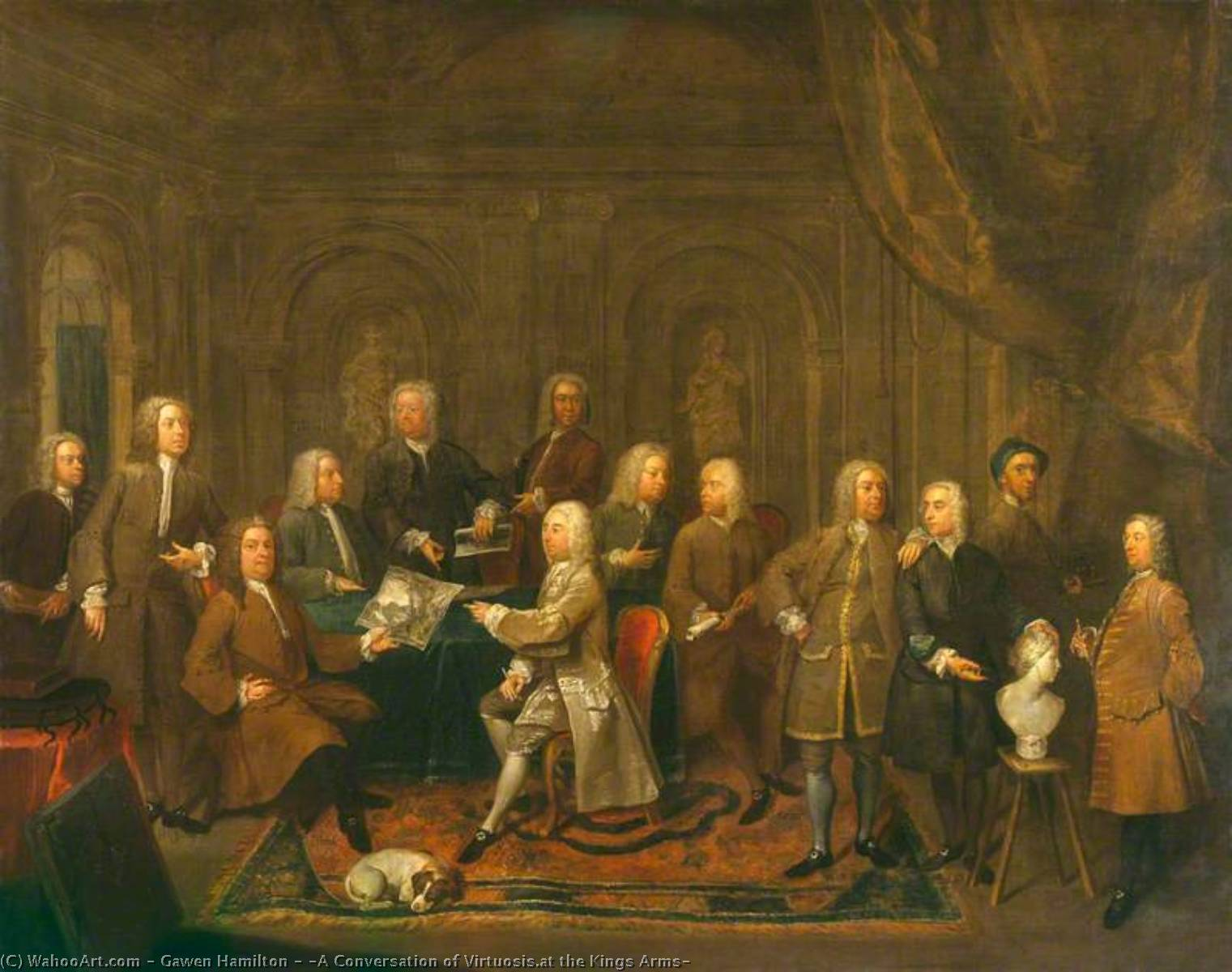 Wikioo.org - The Encyclopedia of Fine Arts - Painting, Artwork by Gawen Hamilton - 'A Conversation of Virtuosis.at the Kings Arms'