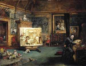 John Phillip, Artist, in his Studio